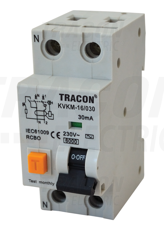 Residual Current Circuit Breaker, Overcurrent Protect  2P,B, 10A, 30